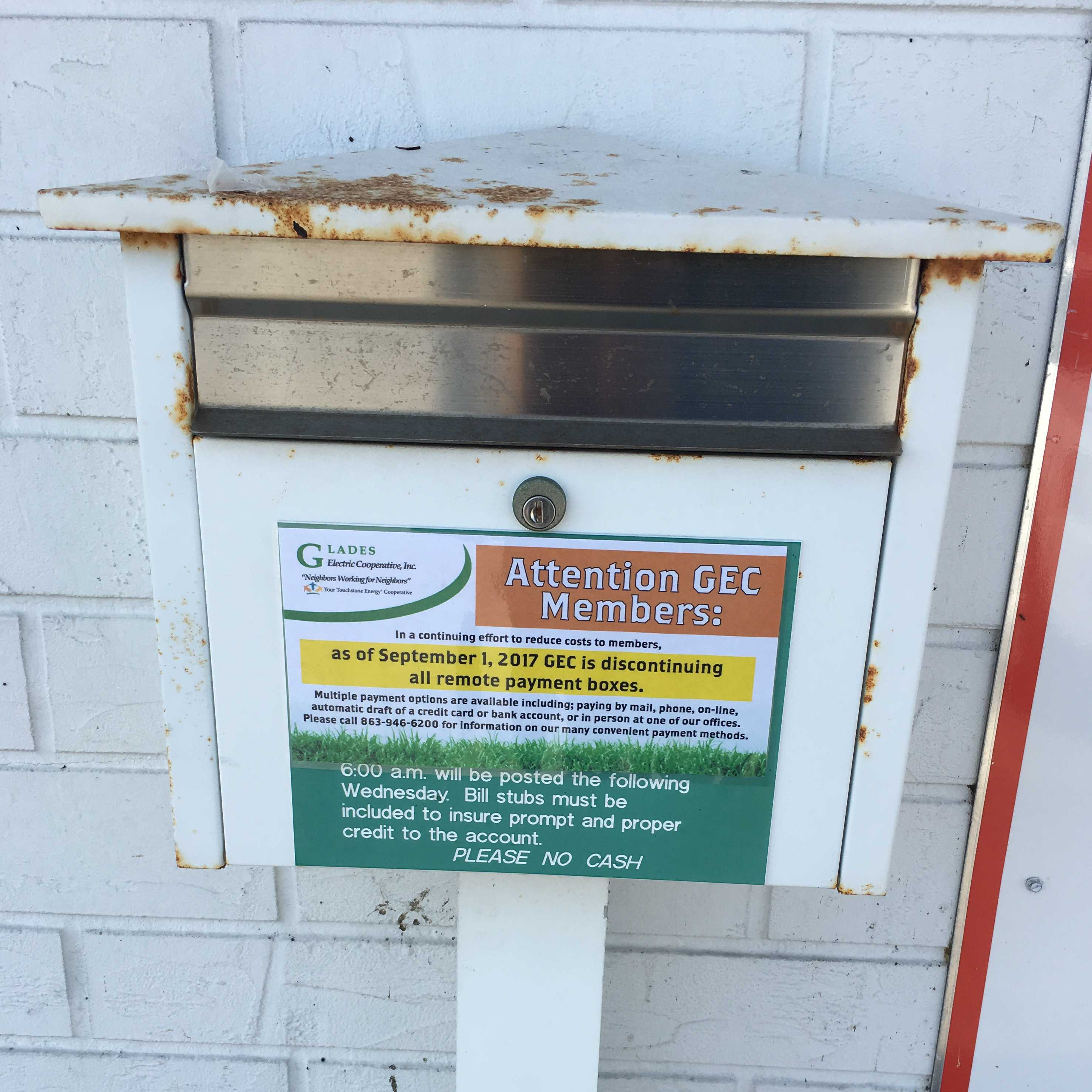 A Glades Electric Payment Drop Box